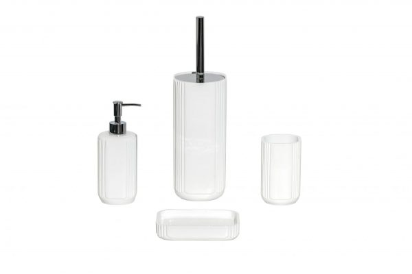 Imperial White 4 Pcs Bathroom Accessory Set Soap Tumbler Dispenser Toilet Brush