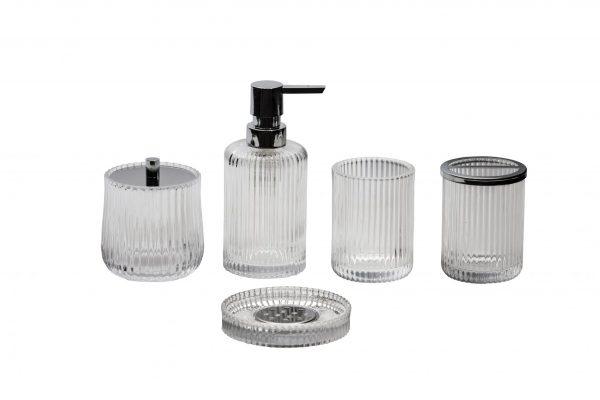 Regent 5 Pcs Glass Bathroom Accessory Set